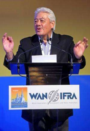 Chairman of Asia Pacific Committee of the WAN-IFRA, Pichai Chuensuksawadi, speaks in Bangkok, on June 2, 2013