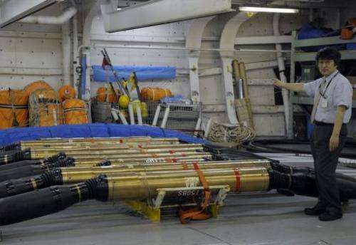 "Earthquake and tsunami sensors on the submarine cable construction ship, ""Subaru"" at Yokohama port  on July 3, 2008"