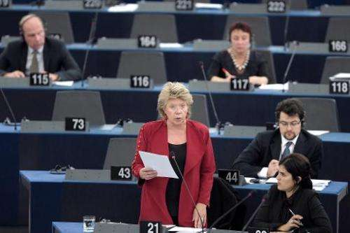 European Union Commissioner for Justice Viviane Reding speaks during a debate at the European Parliament in Strasbourg, eastern