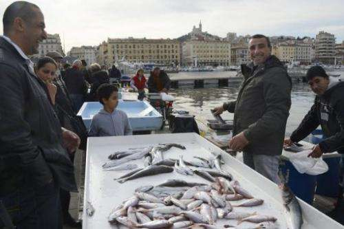 Fishermen sell fish on December 27, 2012 on Marseille's old harbor in France