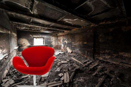 Flame repelent furniture manufactured from recycled materials