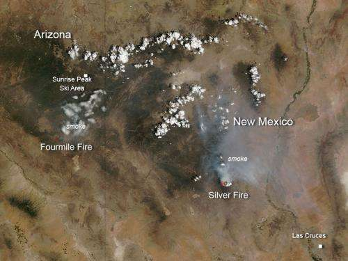 Fourmile and Silver Fires in Arizona and New Mexico