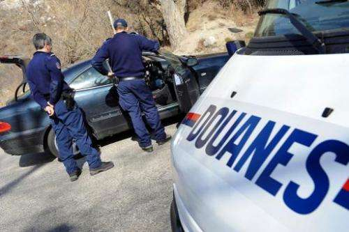 French customs say they found 82 kilogrammes (180 pounds) of elephant tusks in the boot of a car as part of a routine inspection