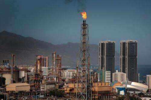 General view taken on January 30, 2013 of a refinery run by Spanish oil firm Cepsa on the Spanish Canary Island of Tenerife