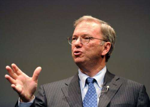 """Google's Chairman Eric Schmidt, pictured September 25, 2012, plans to sell 3.2 million """"A"""" shares"""