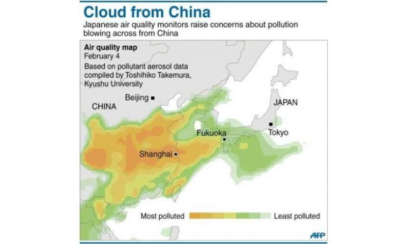 Graphic presenting pollution data on air quality over China and Japan on February 4, 2013