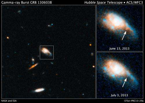 Hubble finds telltale fireball after gamma ray burst