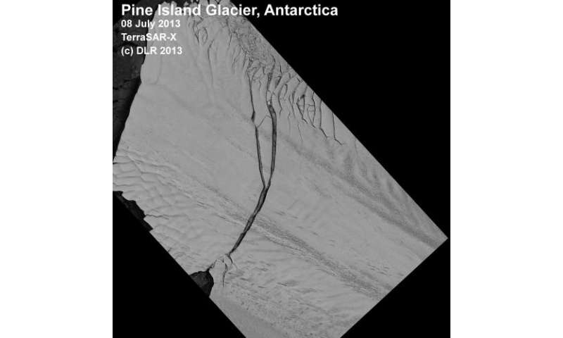 Huge iceberg breaks away from the Pine Island glacier in the Antarctic