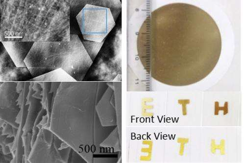 Hybrid material as gold-leaf substitute