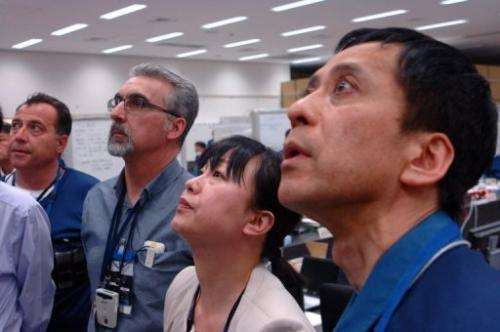 IAEA officials visit the crippled TEPCO Fukushima Dai-ichi nuclear power plant in Okuma on April 17, 2013