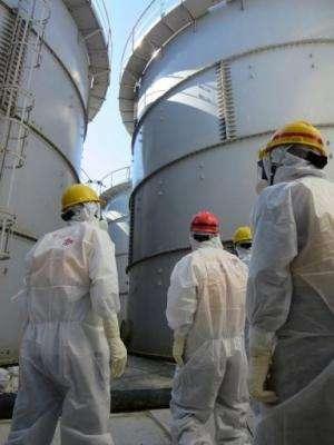 Inspectors look at tanks at Fukushima, on August 26, 2013