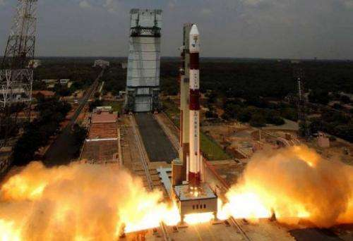ISRO's Polar Satellite Launch Vehicle C14 launches from The Satish Dhawan Space Centre on September 23, 2009