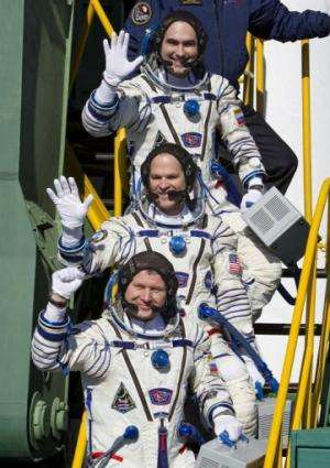ISS crew members, Ford,  Novitskiy and Tarelkin are shown October 23, 2012, shortly before departure