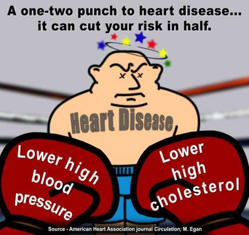 Controlling blood pressure, cholesterol may significantly cut heart disease risk