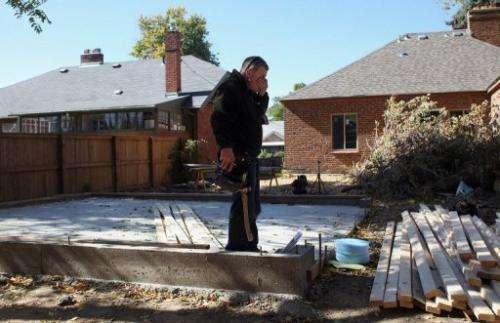 John Holzhauer renovates a home on October 19, 2011 in Denver, Colorado