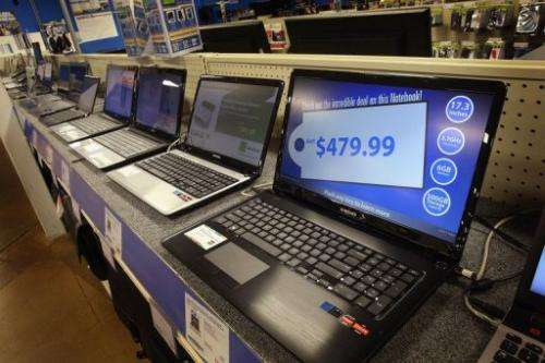 Laptop computers are on sale at a Tiger Direct store on April 11, 2013 in Chicago, Illinois