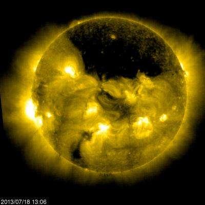 Large coronal hole near the sun's north pole