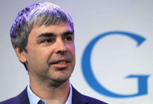 Larry Page speaks during a news conference at the Google offices on May 21, 2012 in New York