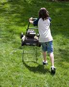 Lawn mower injuries often caused by distraction