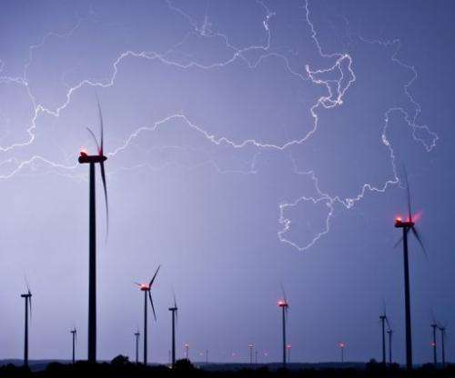 Lightning fills the sky above a  wind farm near Jacobsdorf, eastern Germany in May 2013