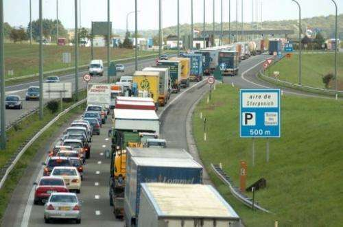Lorries in a traffic jam on the E411 dual-carriageway in Sterpenich, Belgium, October 2005