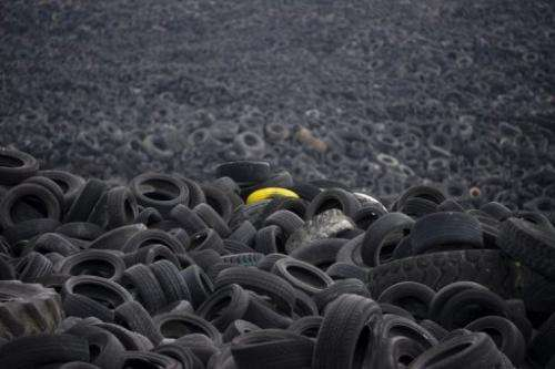 Millions of used tyres stored in a field in Sesena, near Madrid, on January 9, 2013