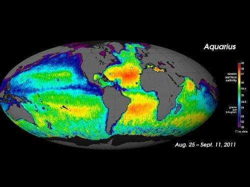NASA's Aquarius sees salty shifts