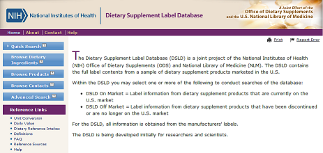NIH launches Dietary Supplement Label Database