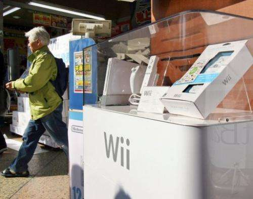 """Nintendo's video game console """"Wii"""" is displayed at a Tokyo electronic shop on December 1, 2006"""