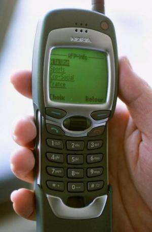 One of the first Nokia phones with internet access pictured in Paris on February 11, 2000