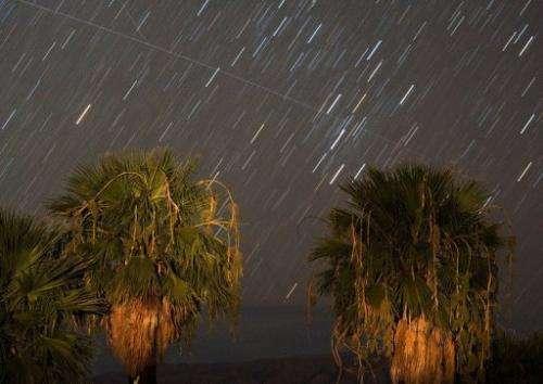Perseid meteors streak across the sky early August 12, 2008, seen in Nevada, US.