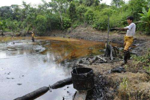Petroecuador employees work on environmental cleansing in the province of Orellana, Amazonia, on February 20, 2011