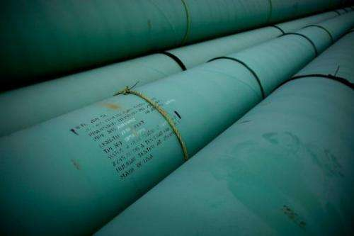 Pipe is stacked at the southern site of the Keystone pipeline on March 22, 2012, in Cushing, Oklahoma