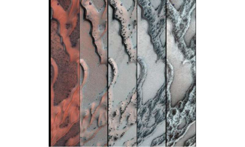 Observed changes to Martian surface caused by seasonal thawing of carbon dioxide ice