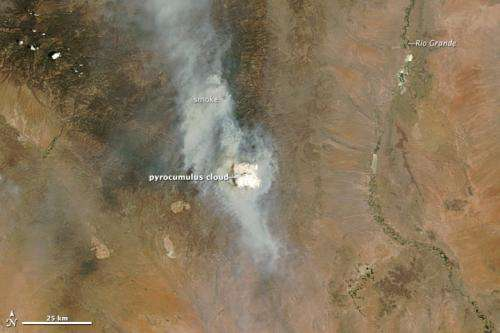 Pyrocumulus cloud billows from New Mexico fire