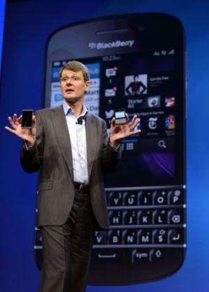 Research in Motion CEO Thorsten Heins unveils the BlackBerry 10 mobile platform in New Yorkk on January 30, 2013