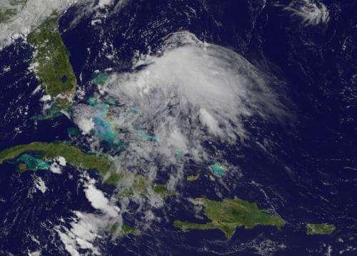 Satellite views Chantal's remnants over Bahamas