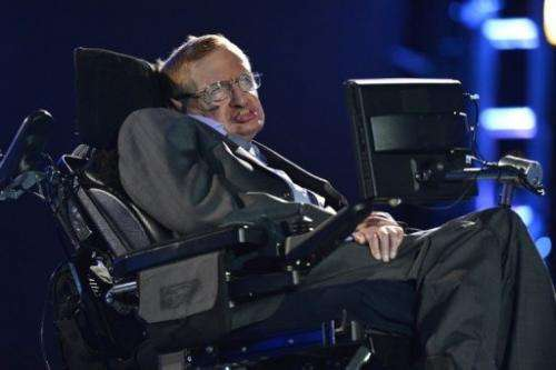 Scientist Stephen Hawking appears during the opening ceremony of the London 2012 Paralympic Games on August 29, 2012