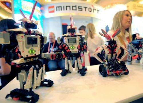 Smart device-controlled toy robots on display at the International CES in Las Vegas on January 9, 2013