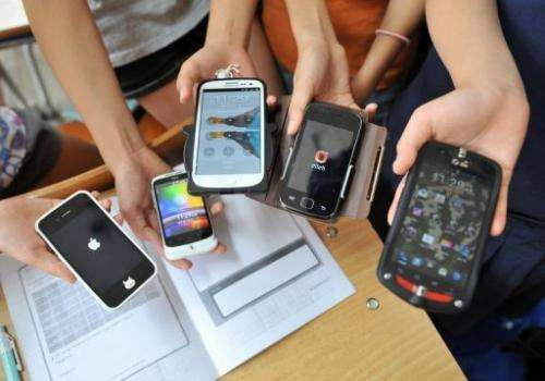 Smartphones in Seongnam, South Korea on June 11, 2013