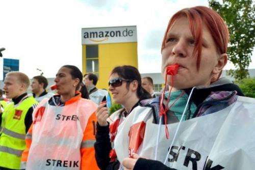 Striking Amazon workers outside the company's logistics centre in Leipzig, Germany, on May 14, 2013