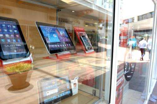 Tablets are displayed in a cell phone shop on November 14, 2012 in Johannesburg, South Africa