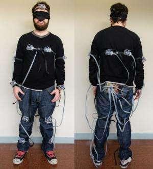 Wearable display meets blindfold test for sensing danger