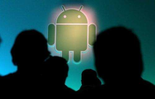 The Android logo is displayed during a press event at Google headquarters on February 2, 2011