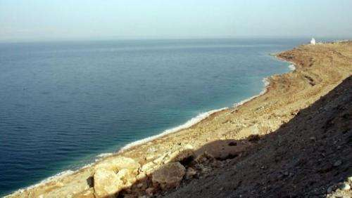 The drying shores of the Dead Sea, south of the Jordanian capital Amman, on November 9, 2009