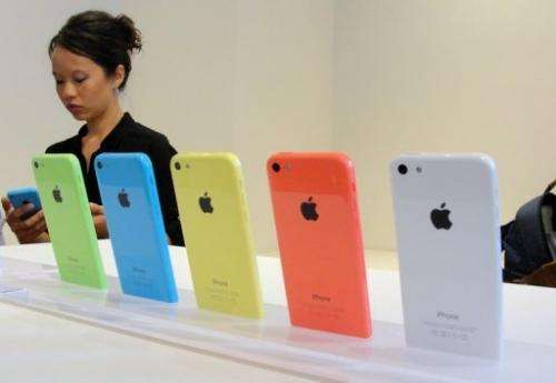 The new iPhone 5C pictured at Apple's headquarters in Silicon Valley, California on September 10, 2013