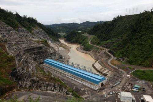 The power house at the Bakun dam on  Balui River west of Belaga, Sarawak state, on Borneo on September 12, 2011