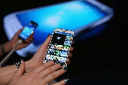The Samsung Galaxy S4 is on show on April 25, 2013 in New York City