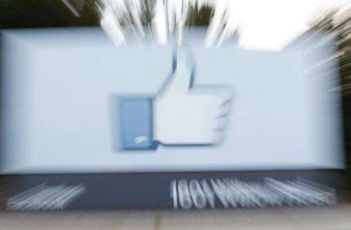 The side of Facebook's Like Button logo at Facebook Headquarters in Menlo Park, California on May 18, 2012
