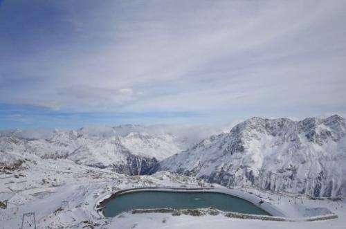 The Tiefenbach glacier in Austria on October 31, 2012